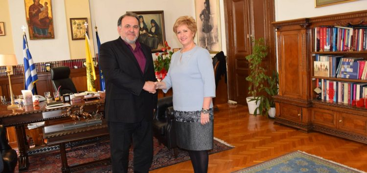 Συνάντηση του προέδρου του ΕΒΕ Φλώρινας Σ. Σαπαλίδη με την υφυπουργό Εσωτερικών στη Θεσσαλονίκη