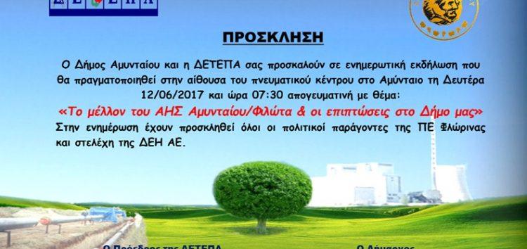 Αναβολή της ενημερωτικής εκδήλωσης για το μέλλον του ΑΗΣ Αμυνταίου