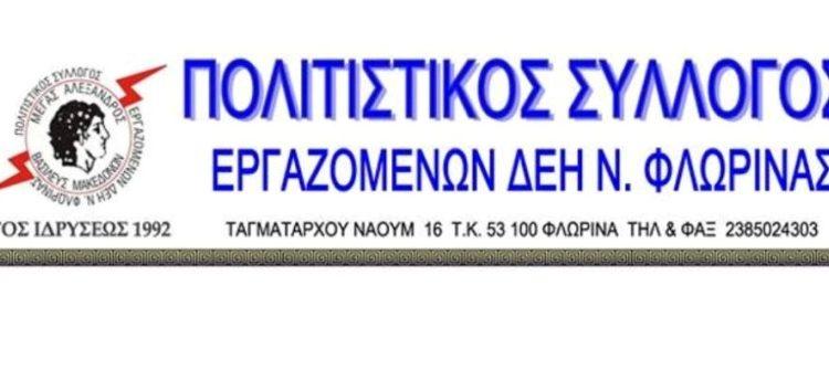Το νέο Διοικητικό Συμβούλιο του Πολιτιστικού Συλλόγου Εργαζομένων ΔΕΗ Ν. Φλώρινας