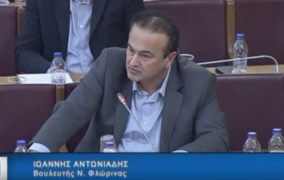 Εισήγηση του βουλευτή Φλώρινας Γιάννη Αντωνιάδη στην Επιτροπή Παραγωγής και Εμπορίου της Βουλής