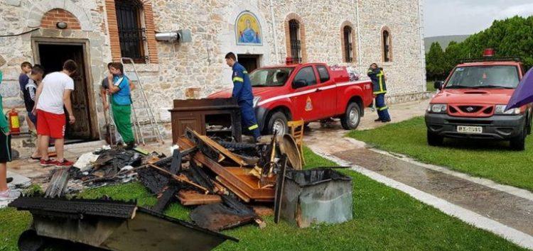 Μικρής έκτασης φωτιά στον Ιερό Ναό Κοιμήσεως της Θεοτόκου Κέλλης (pics)