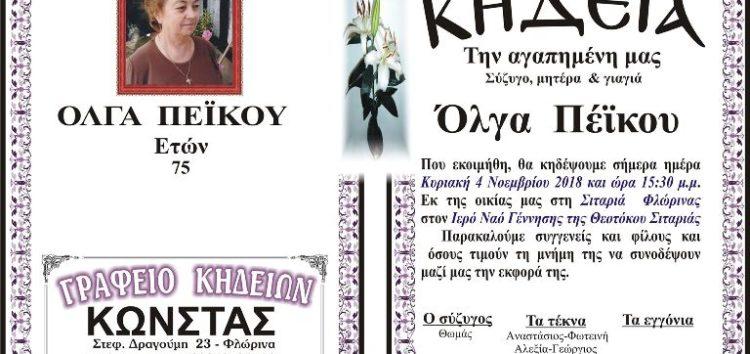 Κηδεία Όλγας Πέικου, ετών 75