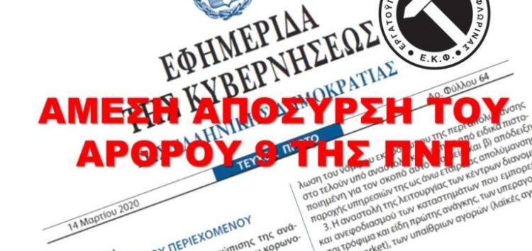 Άμεση απόσυρση του άρθρου 9 της ΠΝΠ που υποβαθμίζει την εργασία & καταγραφή απαράδεκτων και καταχρηστικών συμπεριφορών εργοδοτών