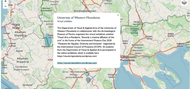 Τμήμα Εικαστικών και Εφαρμοσμένων Τεχνών: Ένταξη της έκθεσης «Διαδικτυακή Εικαστική Πανδημία» σε διαδραστικό παγκόσμιο χάρτη ψηφιακών πρωτοβουλιών Μουσείων