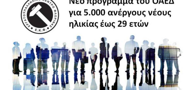 Νέο πρόγραμμα του ΟΑΕΔ για 5.000 ανέργους νέους ηλικίας έως 29 ετών