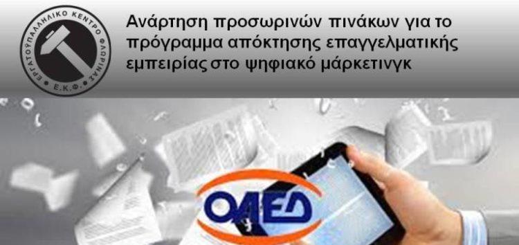 Προσωρινοί πίνακες κατάταξης για το πρόγραμμα απόκτησης επαγγελματικής εμπειρίας στο ψηφιακό μάρκετινγκ