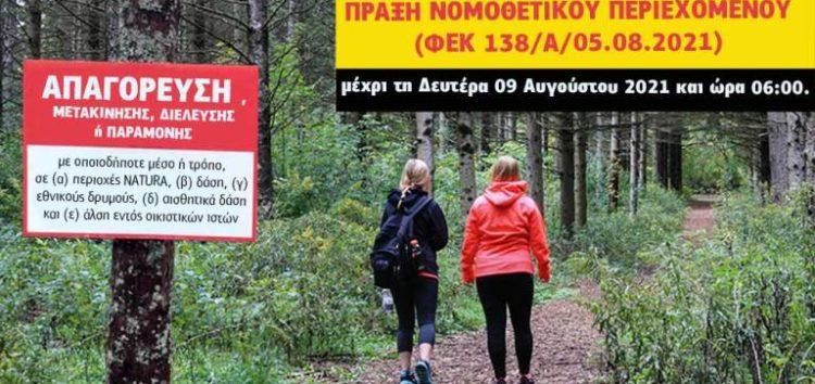 Απαγόρευση μετακίνησης, διέλευσης ή παραμονής εντός δασών, εθνικών δρυμών και αλσών εντός οικιστικών ιστών